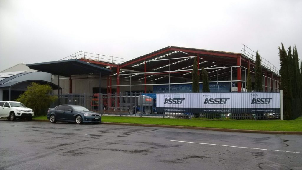Street view of industrial shed extension for warehouse storage