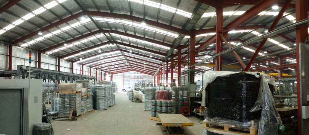 Inside of an industrial shed extension for warehouse storage