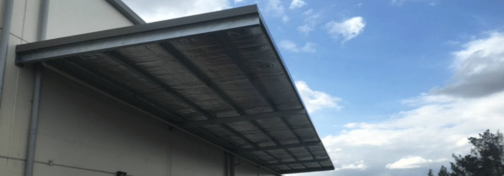View of Cantilever industrial shed awning, Sydney