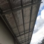underside of cantilever awning with structural steel