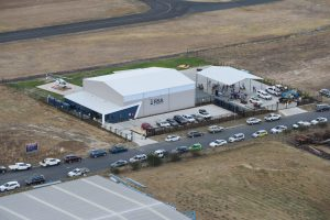 Arial view of helicopter hangar building