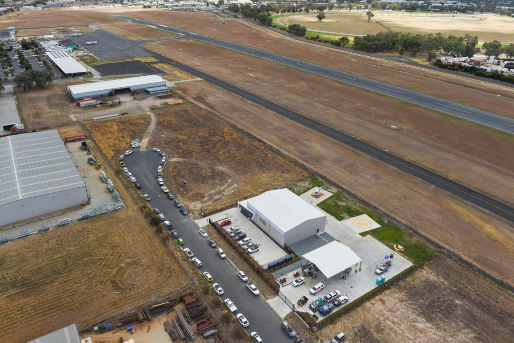 Arial view of completed helicopter hangar