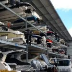 Motor boats stored in boat storage shed
