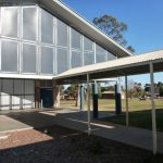 Another view of the covered walkway for a Leeton school