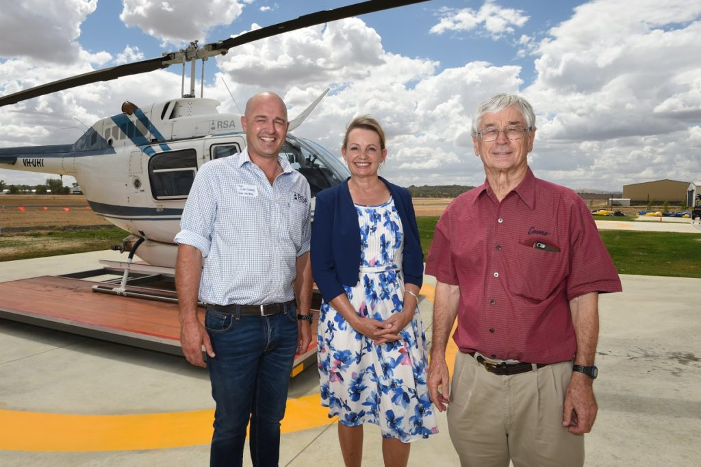 dick smith, hugh acton-adams, susan ley at opening of helicopter shed