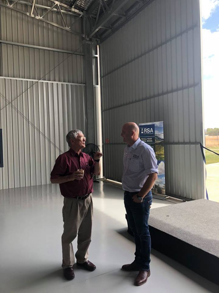 dick smith and hugh acton-adams at opening of aircraft hangar building