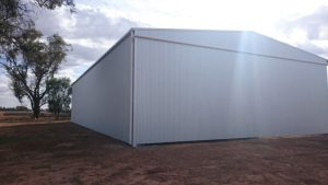 View of the backside of a completed farm shed in Coleambally