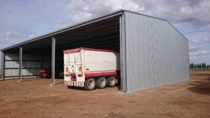 Side view of completed farm shed in Coleambally NSW