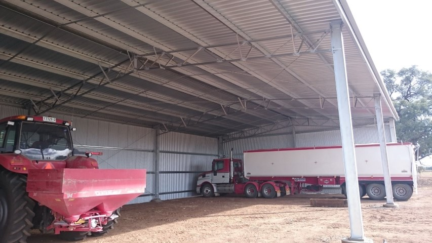 View of the inside of a completed farm shed in Coleambally