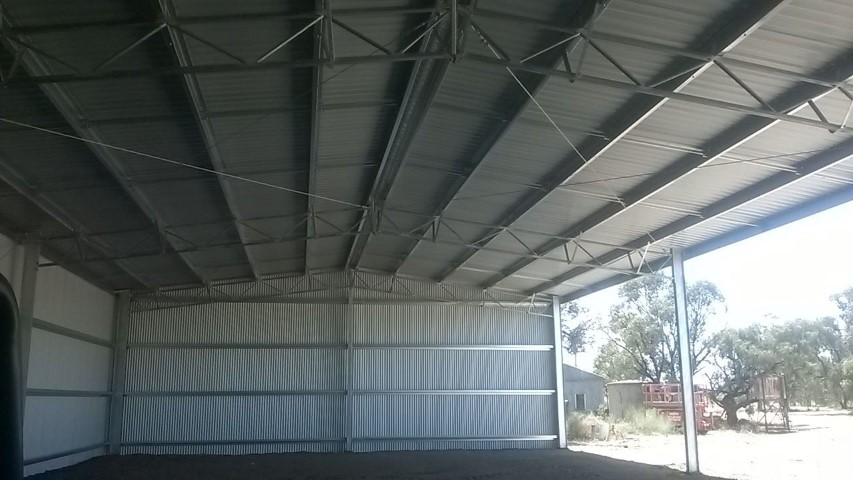 Inside of completed Coleambally farm shed