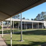 View of covered walkway path for Leeton school