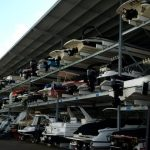 View of full boat storage shed in Syndey Australia