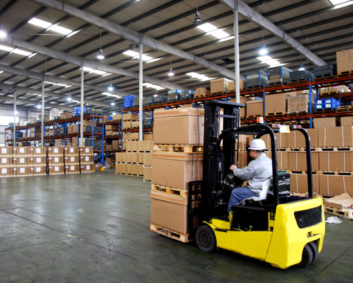 Busy industrial warehouse business