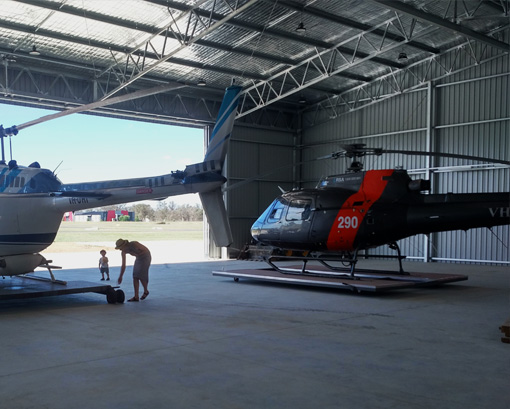 Commercial shed helicopter hangar