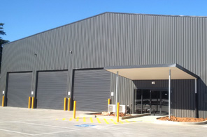 Exterior of a completed commercial warehouse building