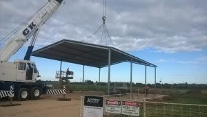 Hanwood farm shed being erected with a crane lift