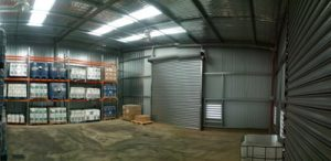 Inside view of completed warehouse storage shed