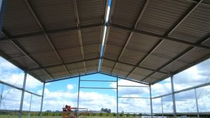 Sheeted roof of farm shed in Hanwood NSW