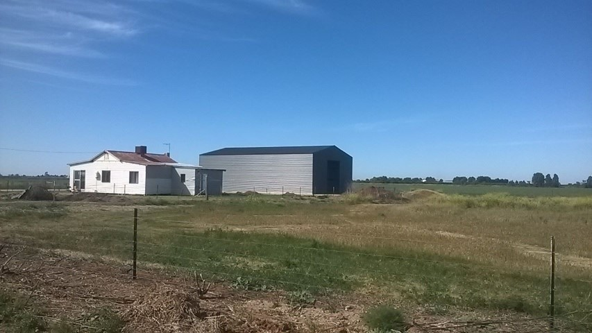 View from the street of the completed Hanwood farm shed