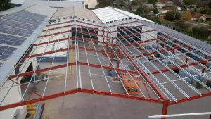 Top view of Industrial shed extension framing