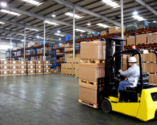 Busy warehouse after construction was completed